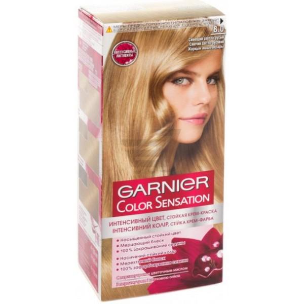 """Garnier Color Sensation Крем-фарба для волосся 8.0 Сяючий Світло-Русий"